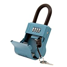 ShurLok SL-600W-C 4 Dial Numbered Key Storage Combination Lock Box With Cable, Blue
