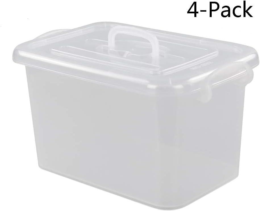 M/édium Bblie Bo/îtes de Rangement Plastique Ensemble de 4 Caisses de Rangement Transparent