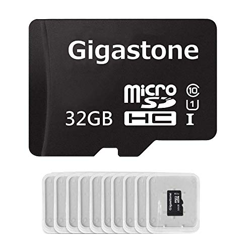 Gigastone Micro SD Card 32GB 10-Pack Micro SDHC U1 C10 with Mini Case High Speed Memory Card Class10 Uhs Full HD Video Nintendo Gopro Camera Samsung Canon Nikon DJI Drone- Black (Scan Disc Micro Sd Card 32)