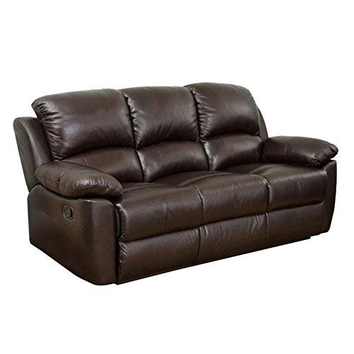Abbyson Living Bella Leather Reclining Sofa in Espresso -
