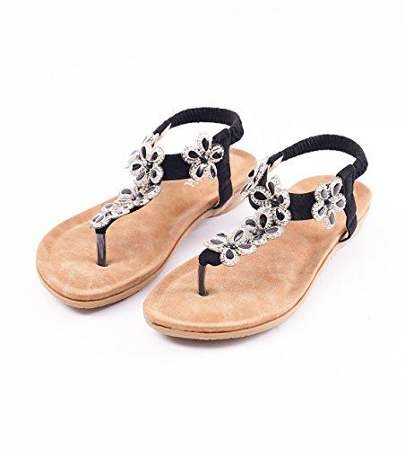 Roiii Womens Ladies Diamante Jelly Sandals Summer Beach FLIP Flops Toe Post Shoes Size 6802 Black 65Rd3nxN