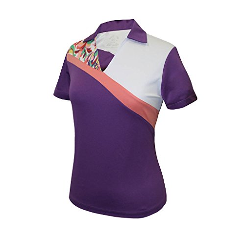 Monterey Club Ladies' Dry Swing Water Fountain Contrast Colorblock Short Sleeve Shirt #2344 (Royal Lilac/White, X-Large)