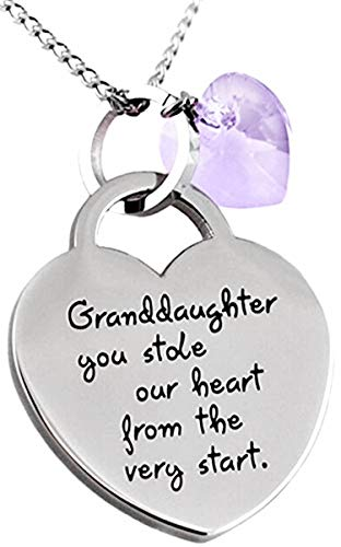 Granddaughter Valentine Jewelry Gifts ''Granddaughter You Stole Our Heart'' Keepsake Sentimental Heart Necklace for Little Girls, Teens Birthday, Graduation (Light Purple)