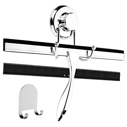 HASKO accessories 12-Inch Bathroom Shower Squeegee – Chrome Plated Stainless Steel – with Matching Suction Cup Hook Holder – 3M Adhesive Mounting Disc, 3M Hook,1 Replacement Rubber Blade