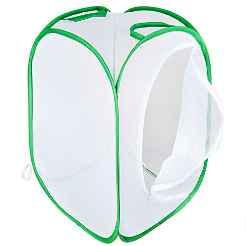 Pllieay Collapsible Insect and Butterfly Habitat Net Pop-up 23.6 inches Tall White Kids Butterfly Net ()