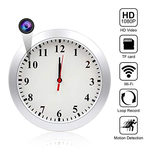 WiFi Hidden Camera Wall Clock Spy Camera Nanny Cam with Motion Detection, Indoor Covert Security Camera for Home and Office