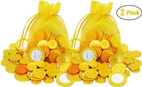 Hanukkah Chocolate Coins - Chanukkah Gelt - European Chocolate Coins - OU-D Kosher (2-Pack)