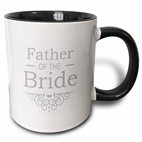 (3dRose InspirationzStore Occasions - Father of the Bride in silver - Wedding - part of matching marriage party set - grey gray swirls - 15oz Two-Tone Black Mug (mug_151575_9))