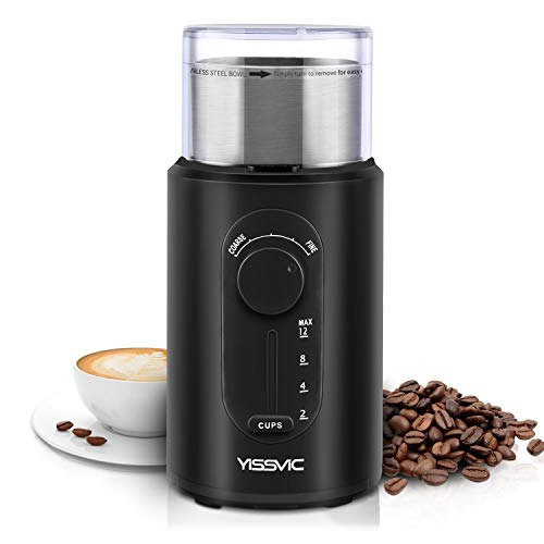 YISSVIC Coffee Grinder Electric Grinder with Stainless Steel Blade, Removable Bowl, Grind Size and Cup Selection for Coffee Beans Spices Nuts Seeds (Cleaning Brush Included)