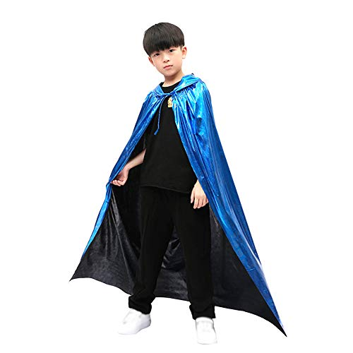 Da.Wa Halloween Costume Cos Play Adult Vampire Cloak Child Magician Death God Witch Bronzing Cloak Blue 120cm]()