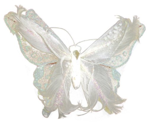 UPC 684653234281, Touch of Nature 1-Piece Fashion Feather and Fabric Butterfly with Curls on Clip for Arts and Crafts, 7-Inch, White