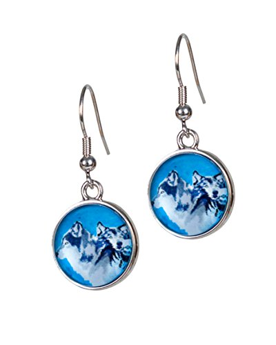 - Animal Earrings - Taken From Original Paintings, Support Wildlife Conservation, Read How, French Hook Ear Wire Earrings, Hypo-Allergenic (Wolf - Spirited Pack)