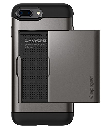 Metal Slider Case - Spigen Slim Armor CS iPhone 8 Plus Case/iPhone 7 Plus Case with Slim Dual Layer Wallet Design and Card Slot Holder for Apple iPhone 8 Plus 2017 / iPhone 7 Plus (2016) - Gunmetal