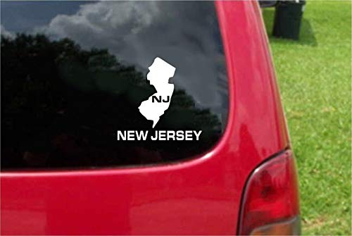Set 2 (PCS) New Jersey NJ State USA Outline Map Stickers Decals (7