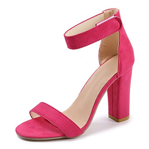 (Always Pretty Women's Velvet Open Toe Lace up High Heel Dress Pump Sandals Rose-10cm US 8.5)
