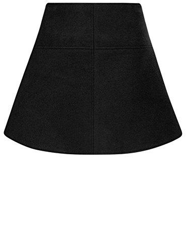 oodji Ultra Mujer Falda Trapecio de Tejido Grueso Negro (2900N)