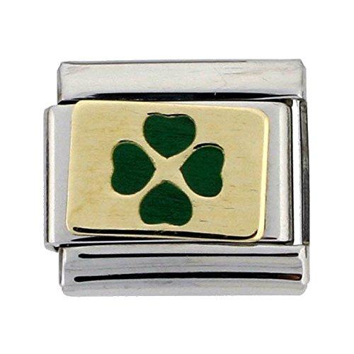 - Sabrina Silver Stainless Steel 18k Gold 4 Leaf Clover Charm for Italian Charm Bracelets
