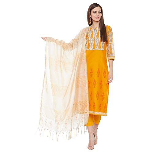 PinkShink Women's Readymade Orange Chanderi Silk Indian/Pakistani Salwar Kameez Dupatta