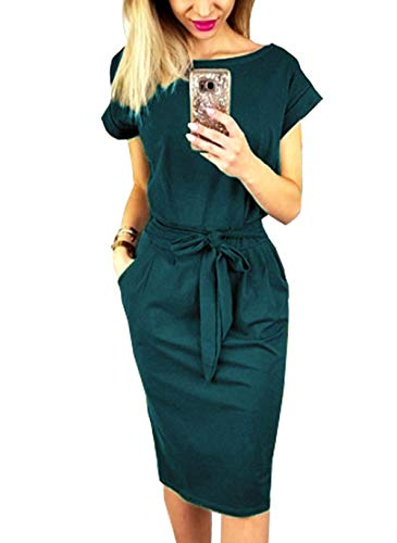 PRETTYGARDEN Women's 2018 Casual Short Sleeve Party Bodycon Sheath Belted Dress with Pockets (Dark Green, Small)