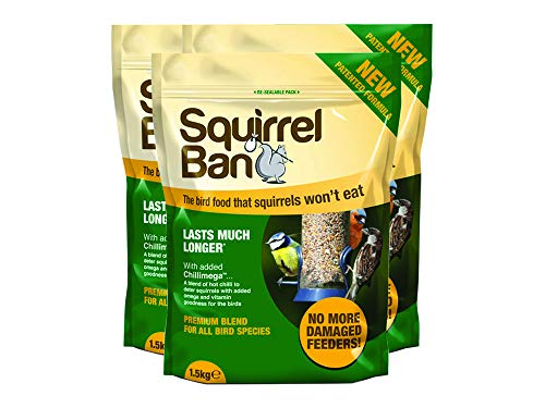 Squirrel Ban – The Squirrel Proof Bird Food – An anti-squirrel bird seed that squirrel's won't eat – 1.6kg (3 Packs)