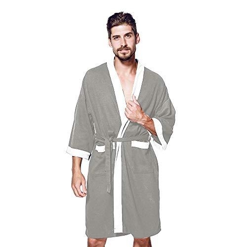 iLOOSKR Fashion Men's Pajamas Long-Sleeved Large Size Stitching Pocket Satin Long Bathrobe Robe(Gray,S)