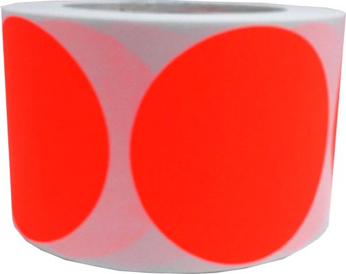 "Fluorescent Red Color Coding Dot Labels 3"" Inch Round - 500 Colored Circle Inventory Stickers Per Roll"