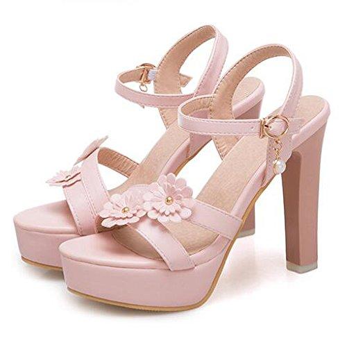 Mariage Femmes Sandales Forme Slingback Toe Talons Fête Peep Hauts Plate Mariée De Fleur à De Pink Robe Chaussures SSx1qwar