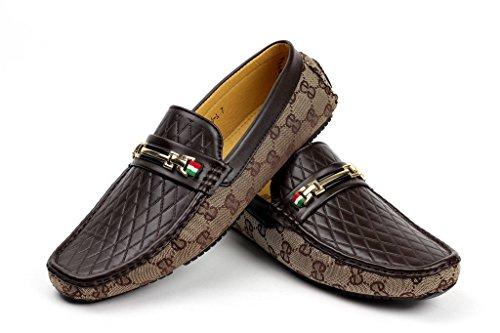 JAS Hombre Sin Cierres Diseño Mocasines Conducción Zapatos Casual Náuticos Mocasin Moderno Marron