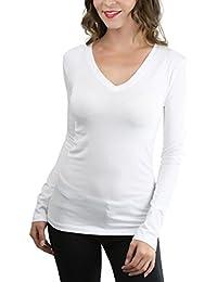 Women's Basic V-Neck Long Sleeve Tee