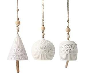 Burton + Burton de viento (cerámica), diseño azteca, color blanco juego de 3