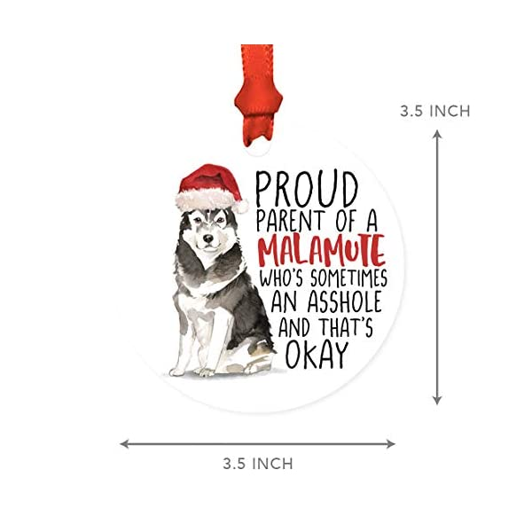 Andaz Press Round MDF Natural Wood Christmas Tree Ornament Dog Lover's Gift, Malamute, Watercolor, 1-Pack, Pet Animal Birthday Gift for Him Her Dog Mom Family 5