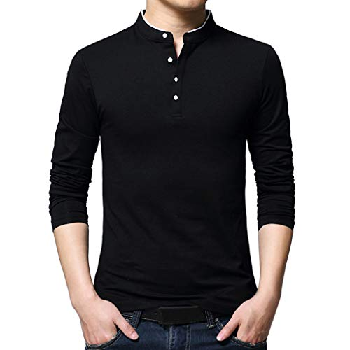 - 2019 Latest Hot Style! Teresamoon Men's Standing Collar Men's Long Sleeve T-Shirt Pure Blouse Top