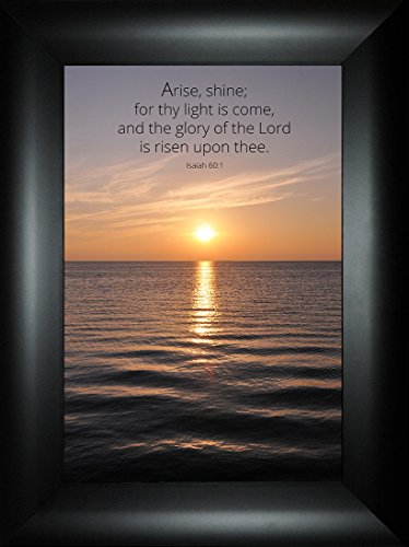 Glory of the Lord By Todd Thunstedt 24x18 Isaiah 60:1 Light Risen Sunset Pier Water Sea Galilee Israel Jerusalem Religious Church Bible Verse Quote Saying Jesus Framed Art Print Wall Décor Picture