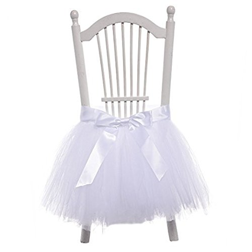 FLYPARTY Handmade Tulle Tutu Chair Skirt with Sash Bow for Party, Wedding & Home Decoration (White)