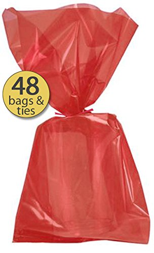 Set of 48 - Red Cellophane Party Favor Bags with Red Twist Ties - Treat Goody Bags - Treat Sacks - Bulk Value - Princess Treat Sack
