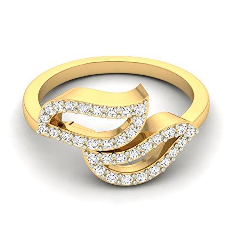 Or jaune 18K 0,3CT TW Round-cut-diamond (IJ   SI) en diamant