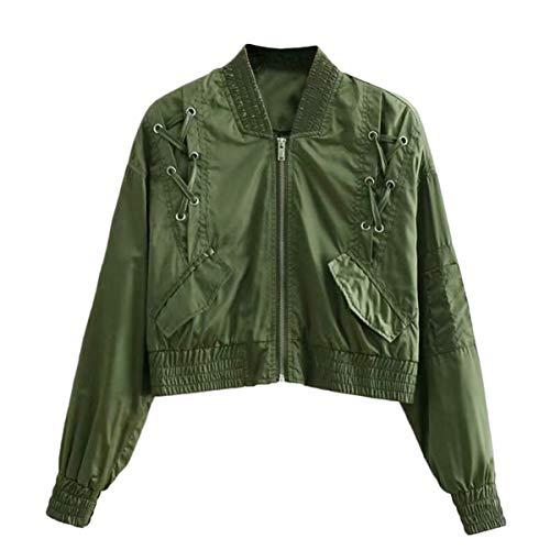 tamaño Color Mujeres Cuello Cremallera cordón alto Green delantera S Invierno con con larga ZFFde Manga Chaqueta bolsillos ZqOfwf