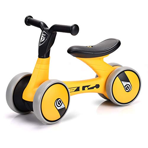 Costzon Baby Balance Bikes, Mini Bike Bicycle, Children Walker Toys Rides for 18 Months No Pedal Infant 4 Wheels Toddler Bike (Yellow) (Yellow Baby Walker)