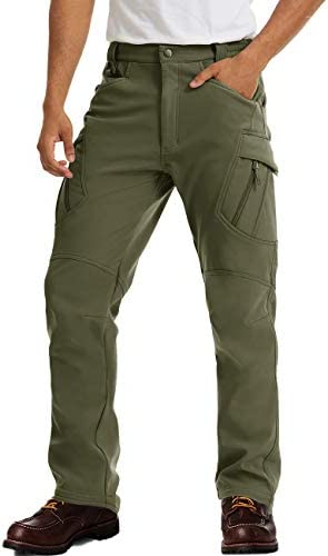 MAGCOMSEN Men's Tactical Pants 9 Pockets, Water Repellent, Warm Fleece Lined, Winter Snow Ski Pants