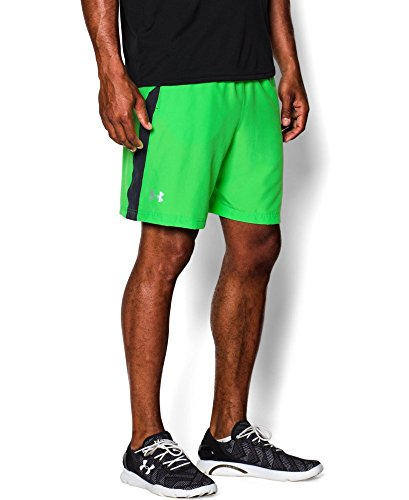 Mens Under Armour Launch Woven 7' Run Short, Poison, MD X 7