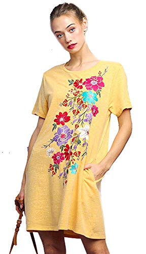 - Umgee Boho Beach Please! French Terry Embroidered Dress or Beach Cover (Gold, Medium)