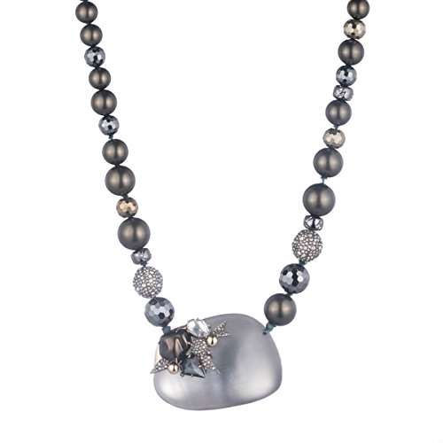 Alexis Bittar Medium Lucite Bib Necklace On Beaded Strand with Pearl and Crystal - Alexis Lucite Necklace Bittar
