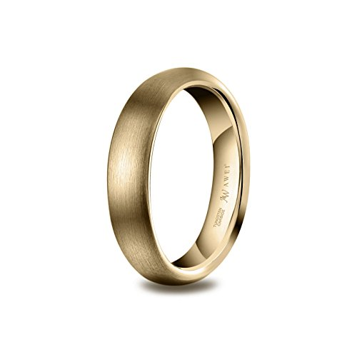 AW Tungsten Rings Matte Brushed Wedding Band - Gold Unisex Comfort Fit Engagement Ring 4mm, Size 8 by AW (Image #3)