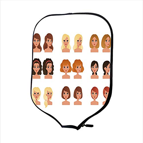 Neoprene Pickleball Paddle Racket Cover Case/Collection of beautiful young girls with different hairstyles and colors shades long short medium curly blond red black brunette Flat vector avatars for mo -