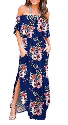 (LILBETTER Womens Off The Shoulder Ruffle Party Dresses Side Split Beach Maxi Dress (XL, Flower Navy Blue))