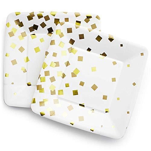 Gold Confetti Dessert Paper Plates, 24 Pack Gold/White Square - Birthday 50th Anniversary Graduation Baby Shower ()
