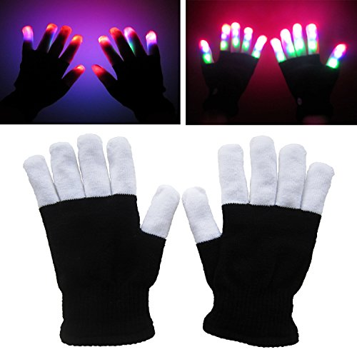 LED Gloves Flashing Fingertip Light Gloves with 6 Light Flashing Modes for Clubbing, Rave, Birthday, Edm, Disco, and Dubstep Party By Wearhome(TM) (Black)