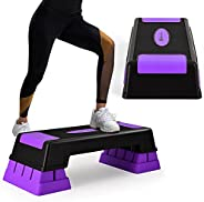 """DORTALA Aerobic Stepper with Risers, 5"""" 7"""" 9"""" Levels Height Adjustable Workout Fitness Stepper with Non-Slip F"""