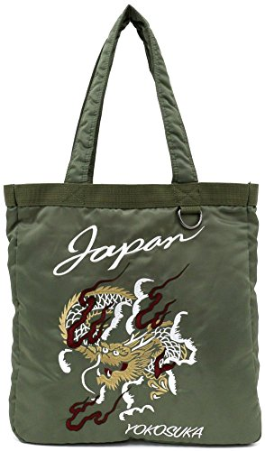 Tote Bag Embroidery Sukajan Embroidered Dragon Tiger Eagle Japan Map (One_Size, B:Kahki/Dragon) (Dragon 1)