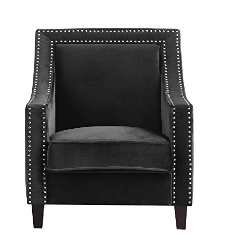 - Iconic Home Keros Accent Club Chair Velvet Upholstered Swoop Arm Silver Nailhead Trim Espresso Finished Wood Legs, Modern Contemporary, Black
